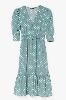 Nasty Gal Womens Polka Dot Over You Belted Midi Dress - Green - M