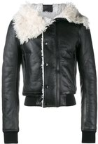 Rick Owens draped collar jacket - men - Calf Leather/Lamb Skin/Sheep Skin/Shearling/Virgin Wool - 46