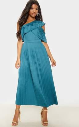 PrettyLittleThing Jasper Green One Shoulder Ruffle Detail Pleated Midaxi Dress