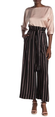 Rachel Roy Metallic Stripe Culotte Paperbag Pants