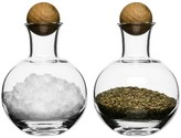 Sagaform Oval Oak Spice/Herb Bottles, 2 Pack - clear with oak stoppers