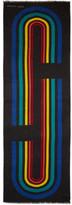 Marc Jacobs Black Vintage Stripe Logo Scarf