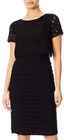 Adrianna Papell Lace Pop Over Banded Dress, Black