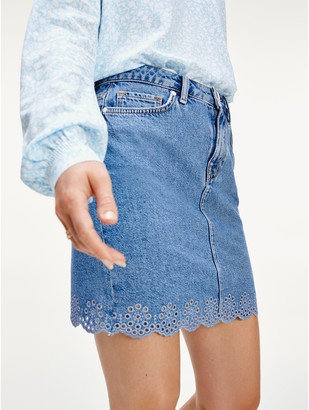 Tommy Hilfiger Scalloped Hem Mini Skirt