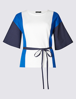 Limited Edition Pure Cotton Colour Block T-Shirt with Belt