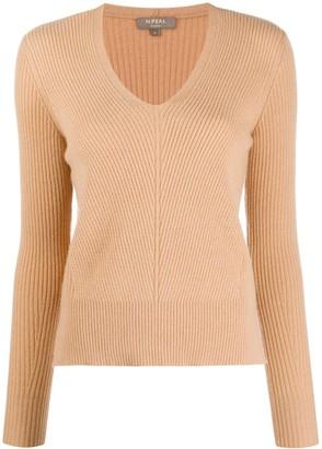 N.Peal rib knit V-neck jumper