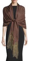 Valentino Golden Lace Voile Stole, Cacao