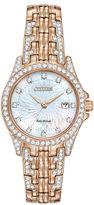 Citizen Eco-Drive Silhouette Womens Crystal-Accent Bracelet Watch EW1228-53D