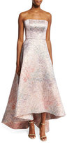 Monique Lhuillier Spring Blossom Jacquard Strapless Gown, Light Pink