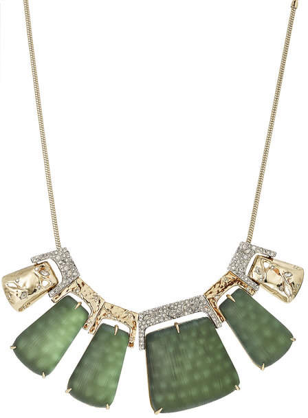 Alexis Bittar Rocky 10kt Gold Necklace with Lucite, Crystals and Rhodium
