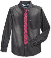 Tommy Hilfiger Preston Denim Shirt & Tie, Big Boys (8-20)