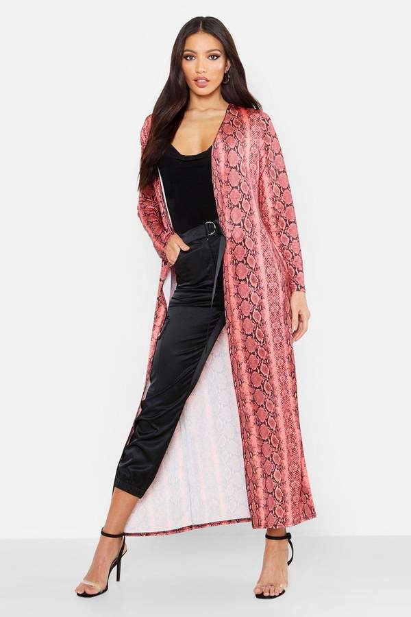 boohoo Snake Print Long Length Duster