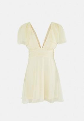 Missguided Dobby Mesh Plunge Flutter Mini Dress