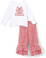 Beary Basics Red 'X-Mas' Long-Sleeve Tee & Ruffle Pants - Toddler & Girls
