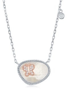 La Preciosa Sterling Silver Oval Mother of Pearl and Rose Gold/ Heart/Circle/Butterfly CZ 16+2'' Necklace.