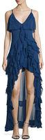 Alice + Olivia Laverne Sleeveless Asymmetric Ruffled Gown