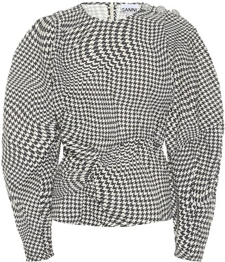 Ganni Houndstooth cotton-poplin top