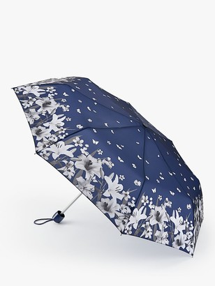 Fulton Lilies and Snowdrops Print Telescope Umbrella, Navy/Multi