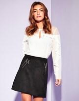 Lipsy Suedette Zip Mini Skirt