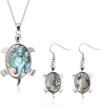 Shop Lc Steel Abalone Shell Earrings Pendant Necklace Set Size 24 Inch Ct 35 - Size 24''