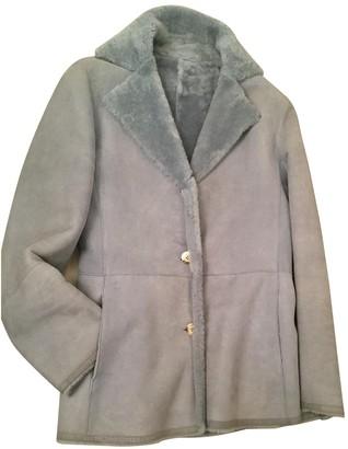 Salvatore Ferragamo Blue Shearling Coats