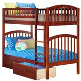 Atlantic Richland Walnut Wood Twin over Twin Bunk Bed with Urban Bed Drawers