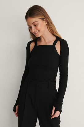 Curated Styles Shoulder Open Detail Rib Top