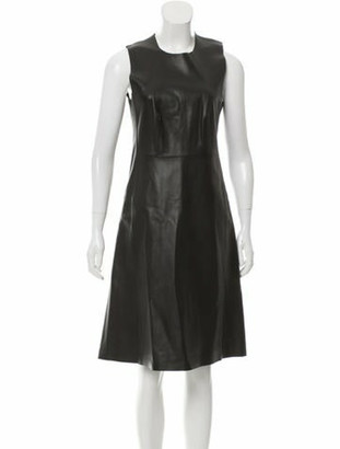 Calvin Klein Collection Leather A-Line Midi Dress w/ Tags Black