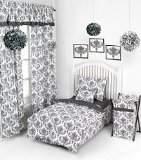 Bacati Classic Damask White/Black 4-Piece Toddler Bedding Set