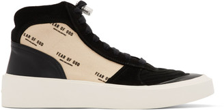 Fear Of God Black and Off-White Strapless Skate Mid Sneakers