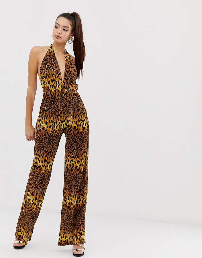 Asos Design DESIGN plunge neck plisse jumpsuit in leopard animal print