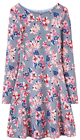 Joules Little Joule Girls' All-Over Floral Print Skater Dress, Soft Grey
