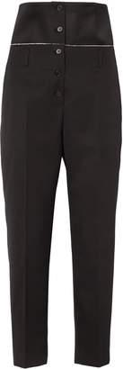 Jil Sander Satin-paneled Wool-twill Slim-leg Pants