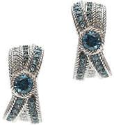 Judith Ripka Sterling Blue Topaz & Diamonique J -Hoop Earrings