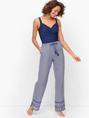 Talbots Crinkle Cotton Beach Pants - Geo Print