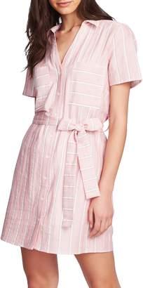 1 STATE Sunwashed Stripe Patch Pocket Shirtdress