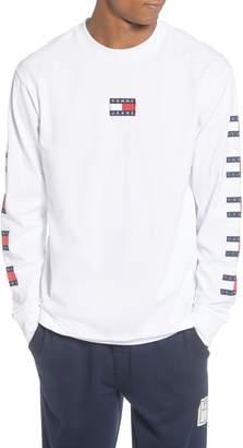 Tommy Jeans TJM Flag Repeat Cotton Long Sleeve Crewneck T-Shirt