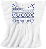 Carter's Embroidered Flutter-Sleeve Cotton Top, Baby Girls (0-24 months)
