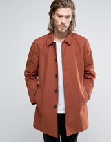 Asos Single Breasted Trench Coat With Shower Resistance in Rust