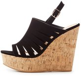 Charlotte Russe Bamboo Caged Cork Wedge Sandals