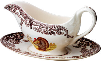 Spode Woodland Sauce Boat & Stand