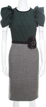 Dolce & Gabbana Multicolor Wool Blend Embellished Pencil Dress XS