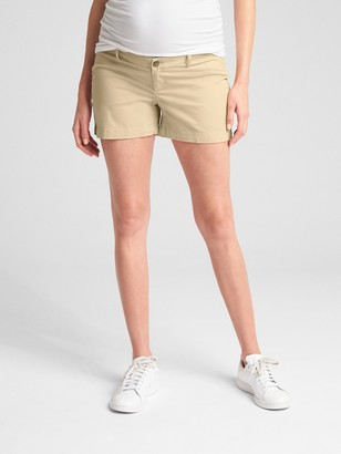 Gap Maternity Inset Panel Stretch Khaki Shorts