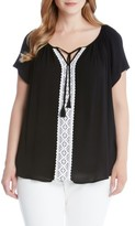 Karen Kane Plus Size Women's Lace Trim Split Neck Top