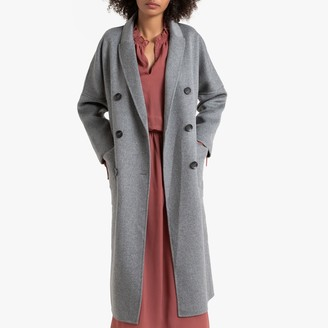 La Redoute Collections Long Double-Breasted Coat in Wool Mix with Pockets