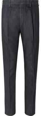 Ermenegildo Zegna Pleated Cotton And Silk-Blend Trousers