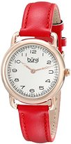 Burgi Women's BUR121RD Classic Two-hand Rose Gold & Red Leather Strap Watch