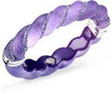 SIS by Simone I Smith Platinum over Sterling Silver Bracelet, Crystal and Purple Lucite Bangle