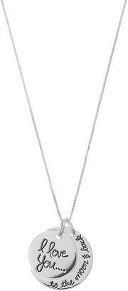 Timeless Sterling Silver I Love You to the Moon & Back Pendant Necklace