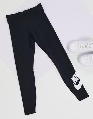 Nike high waisted leggings in black with swoosh logo calf print